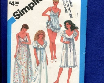15% OFF SPRING SALE Vintage 1983 Simplicity 6468 Nightgowns in Full or Baby Doll Lengths with Empire Waist Size 6..8 Uncut