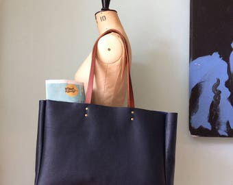 Leather tote bag, navy blue leather book bag, simple leather tote/ holdall