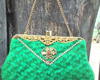 Vintage 1930s 30s Green Purse Evening Bag Small Handmade Art Deco Rhinestones Rare OOAK