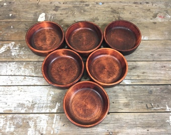 Maple wooden bowl set of 6 teak stained bowls by Baribocraft CANADA 1960's