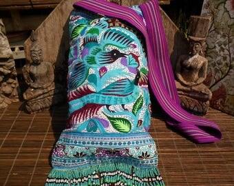 Vintage Textile Bag, Cross Stitch Bag,Handmade Up cycled Shoulder Bag, Textile Shoulder Bag