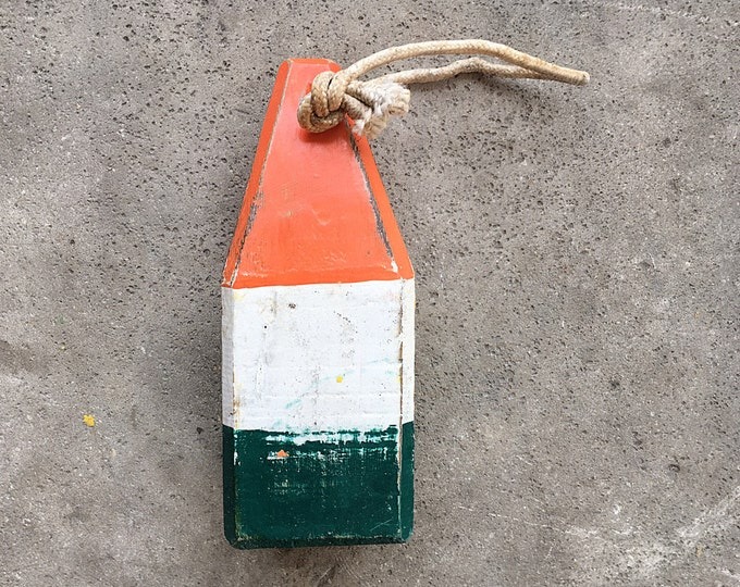 Beach Decor, Old-style lobster float buoy, Red, White, Green Nautical by SEASTYLE
