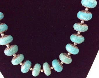 "Turquoise Necklace - Healing Stones  - 19"" long - Natural stones - silver toggle clasp"