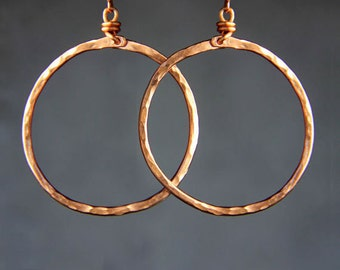 Copper textured hammered hoop Earrings Bridesmaid gifts Free US Shipping handmade Anni designs
