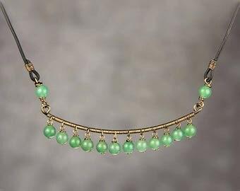 Jade Gunmetal wiring pendant necklace bridesmaids gifts Free US Shipping handmade Anni Designs