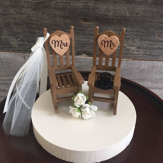 Rustic Wedding Cake Toppers Topper Cabin Chairs Rocking Chair Camping
