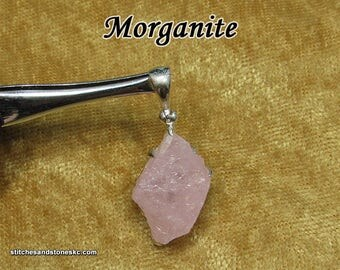 Morganite Pink Beryl Sterling Silver Pendant — Crystal for Love and Healing