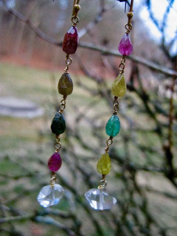 PALLAVI  Tourmaline Teardrop Dangle Earrings with Herkimer Diamonds