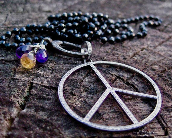 PAHAL  Black Spinel Knotted Necklace with Pave Diamond Peace Sign Pendant