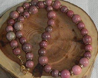 RHODONITE Choker Necklace Rosy Shades of High Grade Rhodonite Calming Stone of Confidence Self Esteem Massachusetts State Gem Rich Mauve