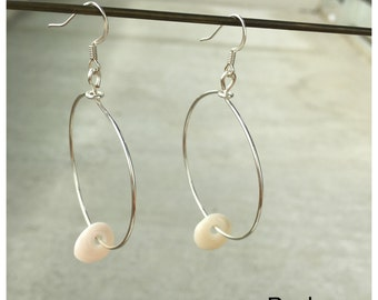 Seashell Jewelry ... Simple Puka Shell Hoop Earrings (1478)
