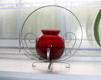 Royal Ruby Red Glass Ball Vase in Metal Stand Vintage 1940s