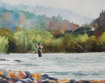 Watercolor ORIGINAL - Roll Cast - fishing, fly fishing, fish, river, sport, trout, fly rod