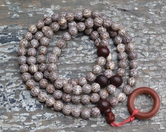 108 bodhi seed mala with wood spacers  M225