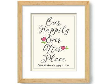 Lesbian Housewarming Gift - New House - Unique Wedding Gift - Art Print for Couples - Personalized Wedding - Lovebirds - Happily Ever After