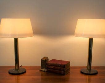 Mid Century Modern vintage Lightolier brass pole and resin bodies