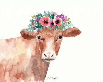 Watercolor Cow Painting, 8x10, Farmhouse Decor, brown cow, watercolor flowers, floral art, cow with flowers, original artwork, spring decor