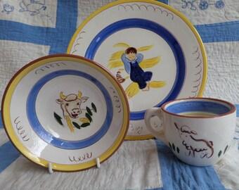 Vintage Stangl Kiddieware -- Little Boy Blue -- Complete Set of 3