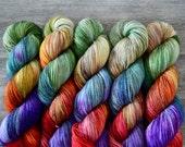 classic {sock} | BLACKENED RAINBOW | ready to ship | hand dyed yarn | merino nylon
