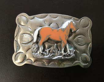 Vintage B-K Silversmiths made of Nickle Silver Belt Buckle with Orange and White Enamel Horse