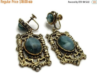 HOLIDAY SALE Vintage 1970's Faux Turquoise Large Drop Earrings - Boho Earrings - Gold Toned Setting with Faux Turquoise Stones - 70's Large