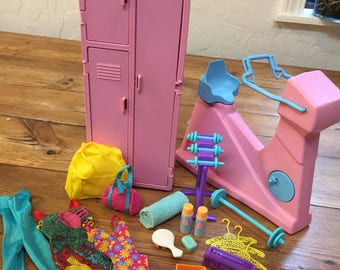 Barbie Doll House Let's WORK it OUT VIGNETTE Room Furniture & Accessories Exercise Bike Locker Gym