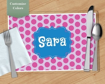 Polka dot -  Personalized Placemat, Customized Placemats, Custom Placemat, Personalized Gift
