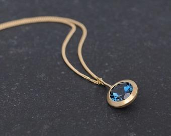 London Blue Topaz Gold Necklace - Blue Topaz set in 18K Yellow Gold - Deep Blue Topaz Pendant in 18K Gold - Blue Gemstone Gold Necklace