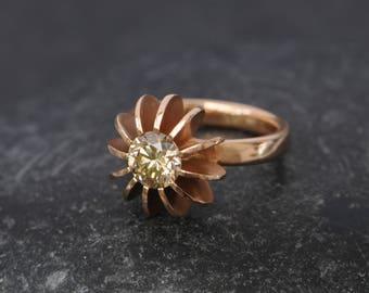 Champagne Diamond Ring in 18K Rose Gold - Unique Diamond Engagement Ring - Designer Engagement Ring Sea Urchin Diamond Ring Size 5.25