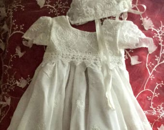 Ivory Baby baptism dress, baptism gown, baby christening dress, baptism dress, lace baptism dress, lace baptism gown