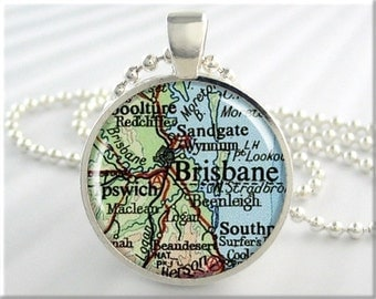 Brisbane Map Pendant Charm Brisbane Australia Travel Map Necklace Resin Picture Jewelry (702RS)