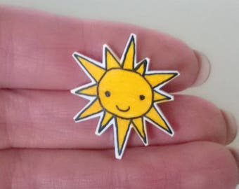 Sunshine Pin Brooch Ooak Jewelry Cute Yellow