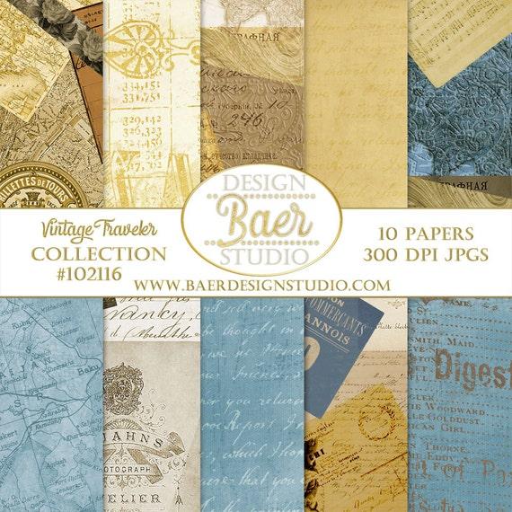 Digital Scrapbook Paper, Digital Paper Vintage, Passport Digital Paper, French Script Paper, Antique Map Digital Paper