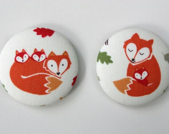 Fridge Magnets Set of 2 Mama Fox and Babies, Woodland Theme Fridge Magnets Fabric Button Magnet 45mm (1 7/8 inch)