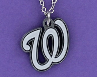 WASHINGTON NATIONALS Logo Necklace - Pewter Pendant on a FREE Plated Chain