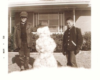 Snowman and Friends snow social realism found art photo vernacular photography found photo snapshot