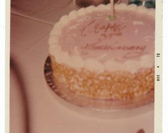 Let Them Eat Cake Vintage still life art Photography vernacular photo snapshot odd strange wedding anniversary cake