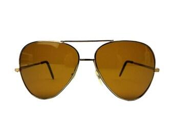 Vintage Aviator Sunglasses // 1970s Brown Amber Lenses, Silvertone Metal Frame // Outdoor Sports Motorcycle Eyewear