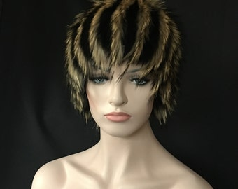 Russian Designer Fur Wig Hat FOX Raccoon Exotic Colors OOAK Acrylic Knit Beanie Style Base Arctic-Store® Arktika