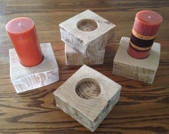 Hand Hewn Cedar Log Candle Holder, free shipping