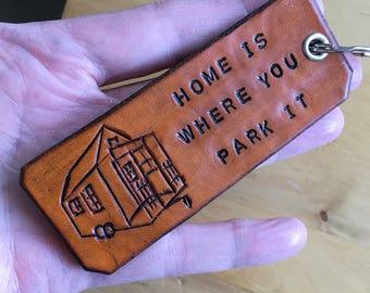 Keychain Tiny House Keychain Key Fob Funny Keychains RV Keychain Leather Keychain
