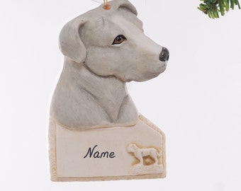 Grey Pit Bull Personalized ornament - american pit bull Christmas ornament - personalized dog ornament -grey pit bull ornament (256)