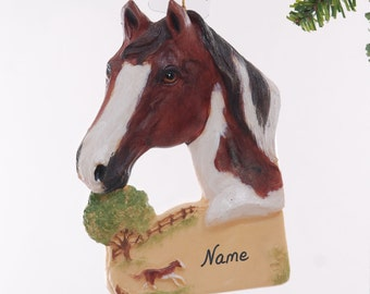 Personalized Horse Christmas ornament - bay paint horse ornament personalized with name of your choice (218)