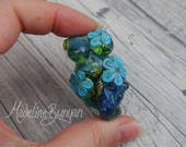Bright Lime and Turquoise voluptuous Goddess, Swirls and flowers Lampwork Focal Bead