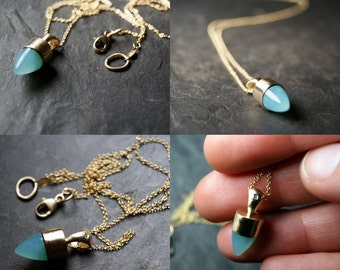 SPRING SALE - 20% OFF - Peruvian Blue Opal Bullet and Diamond Necklace in 14K Solid Yellow Gold...One of a Kind