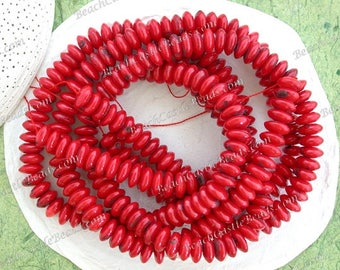3 Strands Sale Beads, Destash Beads, Bamboo Coral Beads, Red Coral Rondelle Beads, Semi Precious Stone Beads, Destash Supplies  DS-880-2