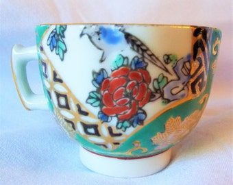 Vintage Little Teacup Japanese Gilt and Enamel