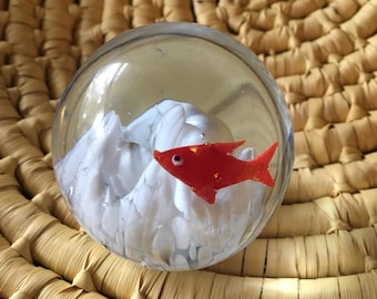 Small Vintage Red Fish Glass Bubble Paperweight