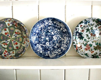 3 vintage tin bowls Daher Decorated Ware made in England, cottage decor, instant collection, farmhouse decor