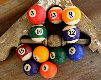 vintage pool balls solid and striped, vintage vase filler, vintage bowl filler, photo prop